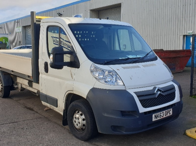 Citroen Relay 35 L3 HDI with Ingimex drop side body, 6 speed manual transmission. Reg No. NK63 OPC.  First registered 12…