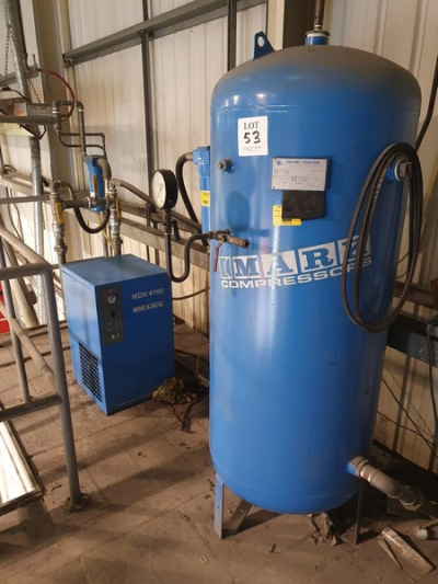 Mark MDX 4100 compressed air dryer with Mark 500 litre welded air receiver 2006 and associated filters (The air dryer an…