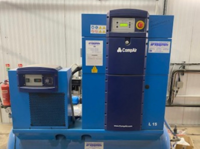 Compair L15 FS-7.5A Screw Compressor with CF00361C Line Filter CSEP020 Oil/Water Separator. S/No. CD10028202001 (2017)