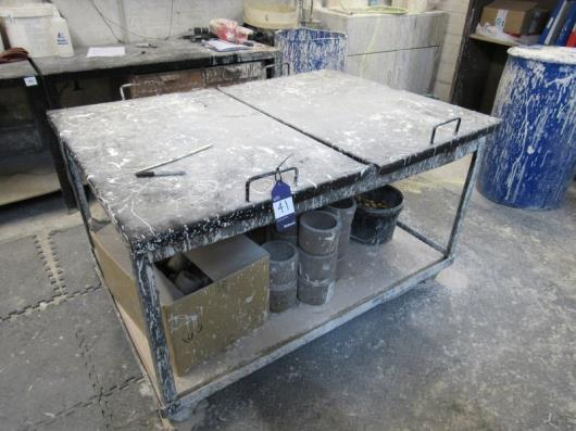 3 Mobile Ceramic Studio Dusting tables with lids