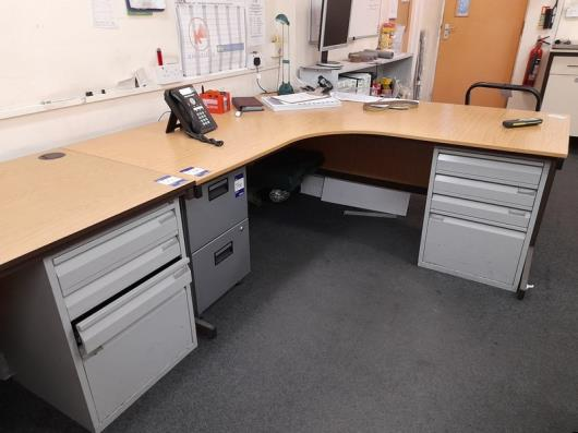 2 Person Workstation to include 3 desks, table, 3 various filing