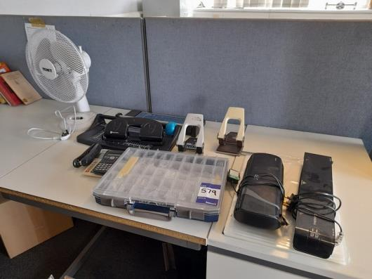 Various office sundries, including laminators, guillotines, hole