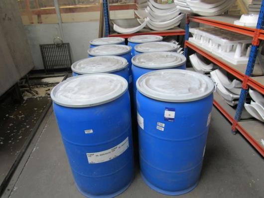 8 Drums of various Raw Polystyrene Bead (7 near capacity and 1 part