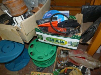 Hose Reels, Plastic Pipe Sections, Assorted Tools
