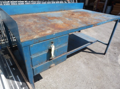 Metal Three Drawer Engineers Bench 6ft x 3ft x 35&