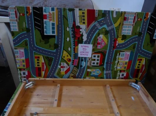 *2 x wooden tables with cartoon tops 1360w x 700d x 630h