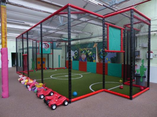*Football/Basketball court - soft play sports arena - all walls netting, hoops etc, measures 10600w
