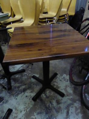 *5 x high quality square tables - with walnut effect top and pedestal base (tops are easy wipe,