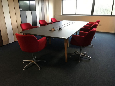 Boardroom Table (1600 x 3600 mm) (7) Fabric Upholstered Swivel Tub Chairs…