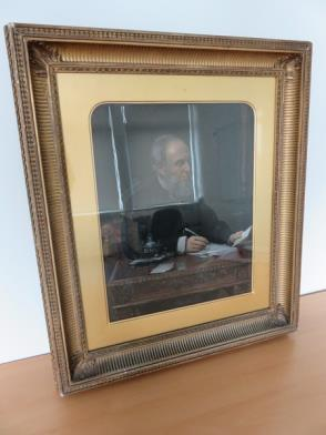 Framed Painting of Gentleman at His Desk (23in x 26in)
