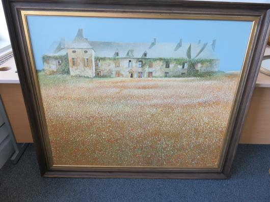 Framed Painting by Chris Wild Chateau by the Sea Brittany (53in x 46in) (Painting Cracking)