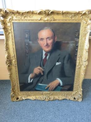 Framed Painting of Businessman with Cigar (32in x 37in)
