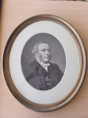 Framed Photograph in Black and White of Gentleman (20in x 23in) (Oval Frame)