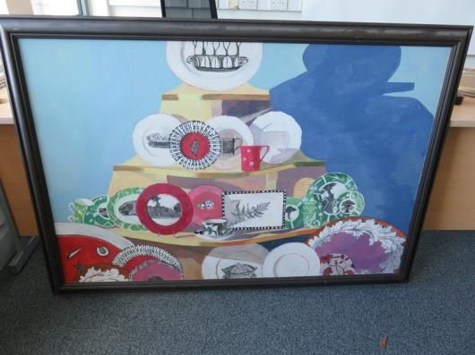 Framed Painting of Shop Display (59in x 41in)