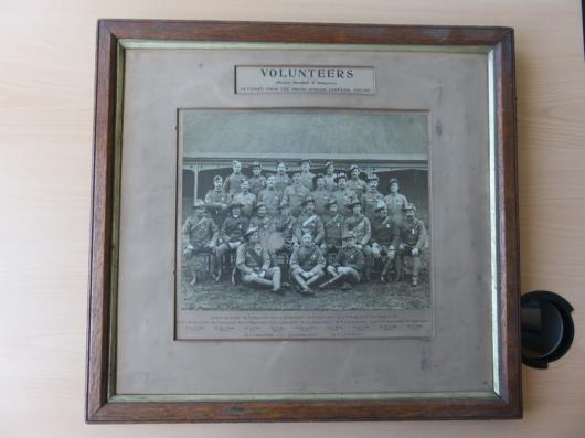 Framed Photograph of Army Volunteers of Marshall and Snelgrove from the South African Campaign 1900-1901 (20in x 18in) (No Glass)