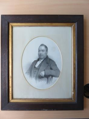 Framed Print of Gentleman, Signed (19in x 22in)
