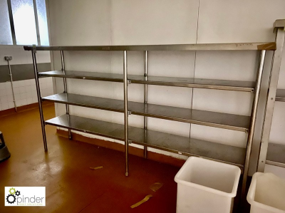 Stainless steel 4-shelf Rack, 2850mm x 630mm (located in Rear Store Room, Basement) **** please note this lot needs to b…