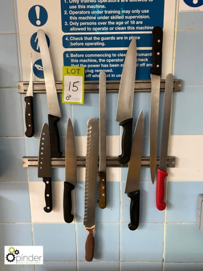 10 various Carving Knives including magnetic wall brackets (located in Main Kitchen, Basement) **** please note this lot…