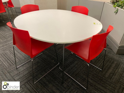 Oval Café Table, 1450mm x 1250mm, white with 4 stackable tubular framed chairs, red (located in Canteen, Basement) **** …