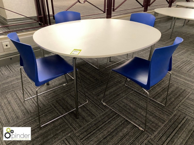 Oval Café Table, 1450mm x 1250mm, white with 4 stackable tubular framed chairs, blue (located in Canteen, Basement) ****…