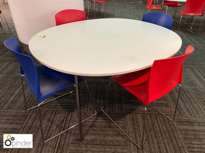Oval Café Table, 1450mm x 1250mm, white with 4 stackable tubular framed chairs, red and blue (located in Canteen, Baseme…