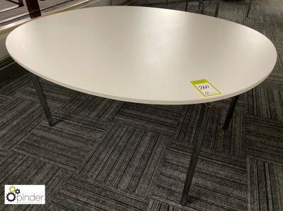 Oval Café Table, 1450mm x 1250mm, white (located in Canteen, Basement) **** please note this lot needs to be collected e…