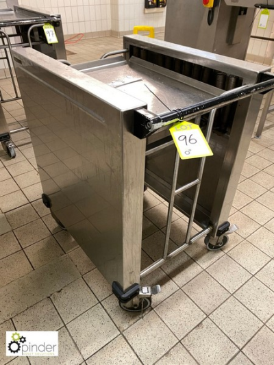 Stainless steel mobile spring loaded Tray Rack (located in Tray Wash Room, Basement) **** please note this lot needs to …