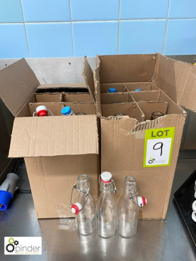 12 various refillable Water Bottles, with stoppers (located in Main Kitchen, Basement) **** please note this lot needs t…