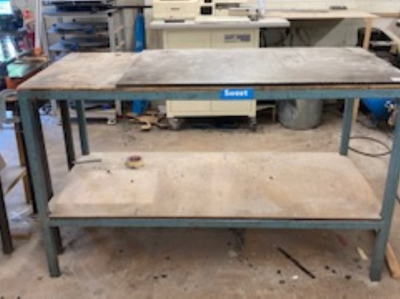 Steel surface table with two tier steel frame workbench