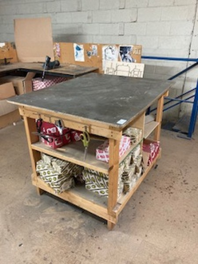 Steel topped three tier workbench