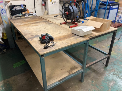 (2) Steel frame two tier workbenches