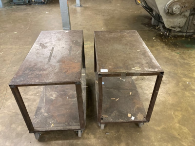 (2) Steel frame two tier mobile workbenches