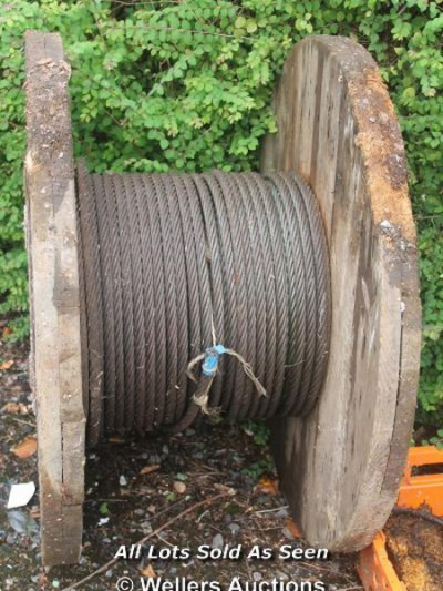 HUGE REEL OF WIRE ROPE…