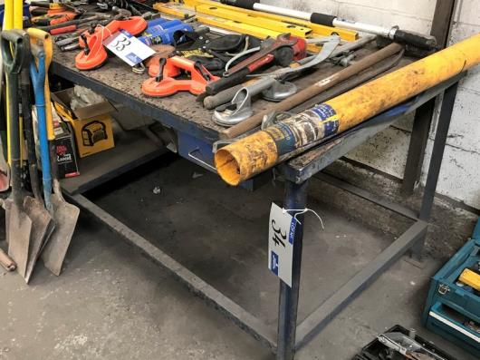 A Steel Framed Timber Top Work Bench, 72in x 36in x 34in h.…