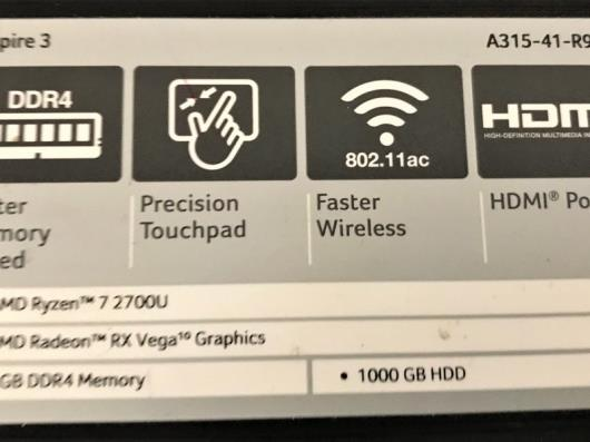 An Acer Aspire 3 A315-41-R9YH Model N17C4 15.6in Lap Top Computer;