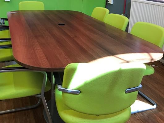 A Darkwood Boardroom Table on 2 Circular Bases with curved corners,