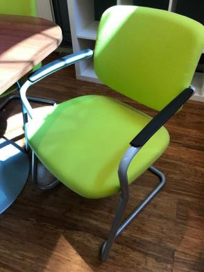 8 Green Fabric Upholstered Cantilever Armchairs (located at The Old