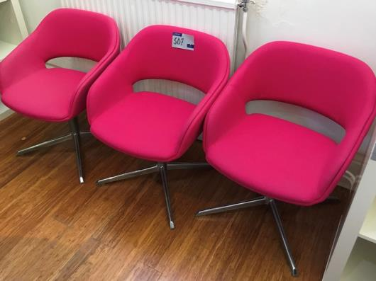 3 Pink Fabric Upholstered Swivel Chairs on four star bases (located