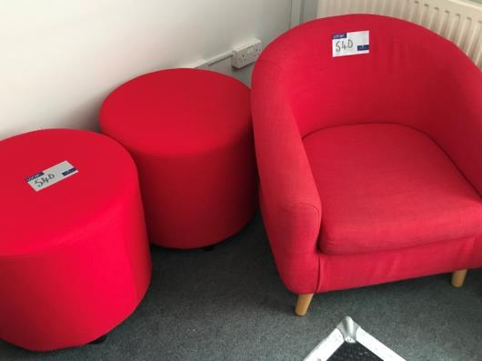 2 Red Fabric Seats, 540mm dia x 475mmh with Red Fabric Armchair