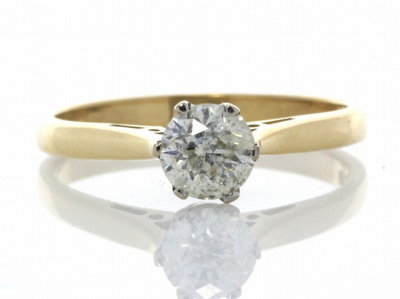 18ct Yellow Gold Diamond Engagement Ring 0.61 CaratsThis simple and elegent 18ct yellow gold engagement ring is set wit…