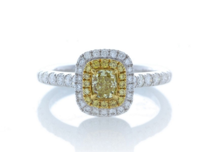 18ct White Gold Halo Set Ring 0.70 CaratsItem Specification..Carat:0.3.Colour:Fancy Yellow.Clarity:SI. Cut:ExcellentMet…