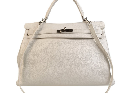 Hermes White Leather Kelly 35 Retourne Top Handle Bag Satchel