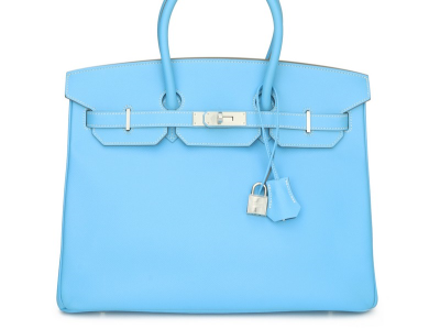 Hermes Birkin 35cm Candy Collection Blue Celeste & Mykonos Epsom Leather Palladium Hardware Stamp P