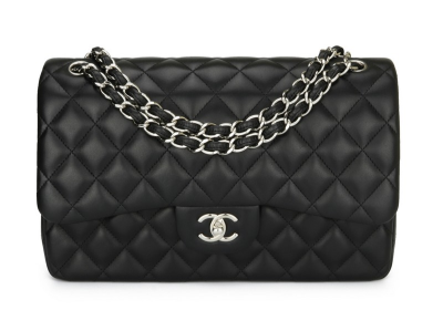 Chanel Double Flap Jumbo Black Lambskin Silver Hardware 2015