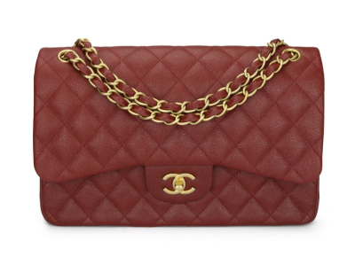Chanel Double Flap Jumbo Iridescent Burgundy Caviar Brushed Gold Hardware 2018