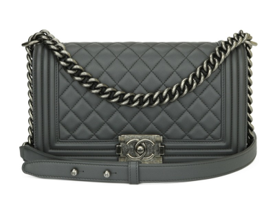 Chanel Medium Quilted Boy Dark Grey Lambskin Ruthenium Hardware 2015