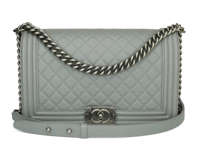 Chanel New Medium Quilted Boy Grey Calfskin Ruthenium Hardware 2017