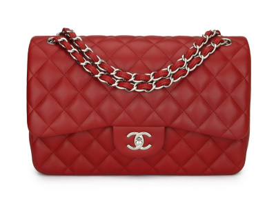 Chanel Double Flap Jumbo Red Lambskin Silver Hardware 2013