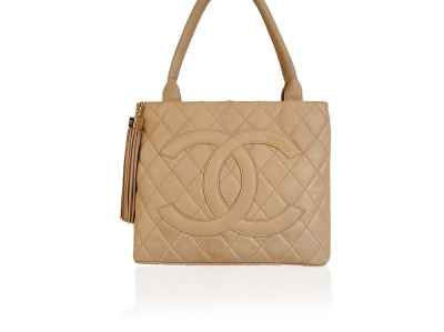 Chanel Beige Quilted Leather Cc Logo Tote Shoulder Bag