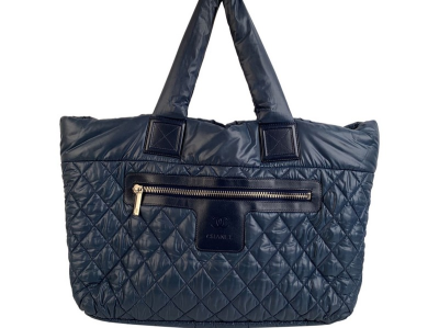 Chanel Blue Black Nylon Reversible Coco Cocoon Tote Bag Handbag